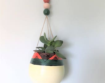 Hand painted Tribal/Ethnic Hanging Plant Pot- Orange and green