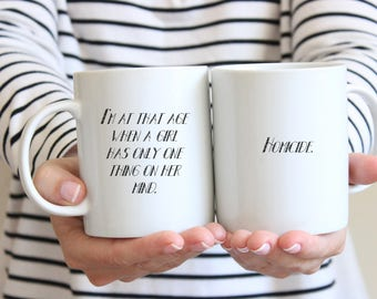 Addams Family inspired Coffee Mug or Travel Mug - I'm at that age when a girl has only one thing on her mind. - Homicide