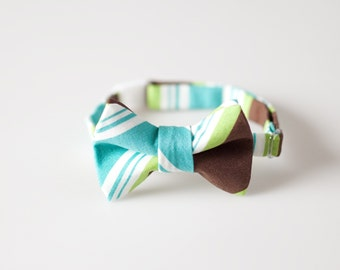 Little Boy Bowtie - Brown, Green, and Teal Stripes