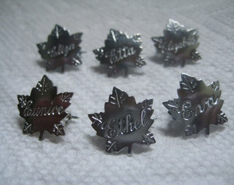 Liberty Silver Maple Leaf Name Pins Letter E