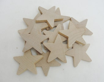 "12 Traditional 2 inch (2"") wooden stars, 2"" x 1/4"" wood star, unfinished DIY"