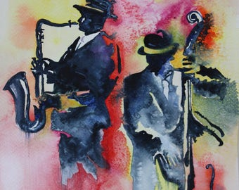 Watercolour watercolor original JAZZ saxophonist and bassist light and shadow