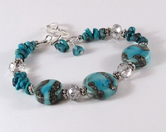 Turquoise and Silver Lampwork Bracelet, Sterling Silver