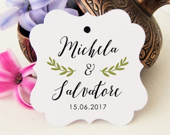 Confetti tickets, custom names labels, thank you labels, wedding tickets