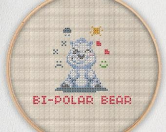 Bi-Polar Bear Cross Stitch Pattern - Instant Download PDF
