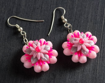 33% OFF SALE Light and Hot Pink Passionflower Bloom Earrings w/ Dangling Vintage Flowers, Sterling Silver Chain, Sterling Ear Hooks Jewelry