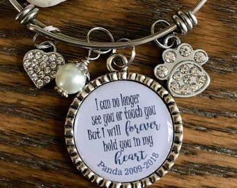 Personalized Memorial bangle bracelet ~ I can no longer see you or touch you but I will forever hold you in my heart ~ Sympathy gift ~ loss