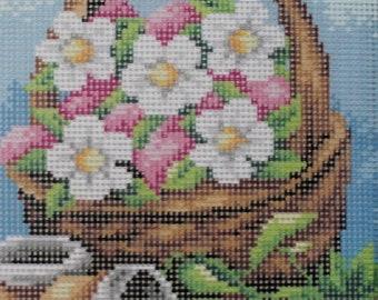 Needlepoint tapestry, Basket of flowers, 18 x 24 cm, REF 2418