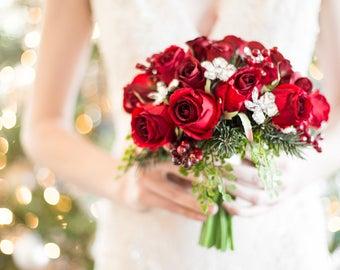 Wedding Bouquet - Winter Bouquet - Red Rose Bridal Bouquet for a Winter Wedding - Christmas Wedding Bouquet for Bride