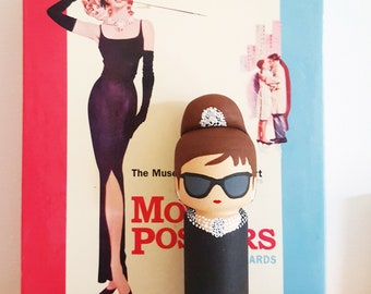 kokeshi Peg Doll wooden doll Audrey Hepburn at Breakfast at Tiffanys