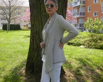 "Jacket cardigan Crochet Jacket ""Marlene"", Light Grey, Gr. 36-38"