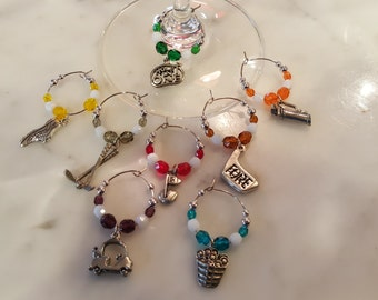 Golf Golfing Golfer Wine Charms with pouch set of 8