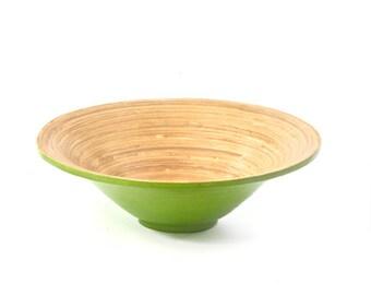 Green and Natural Spun Bamboo Bowl