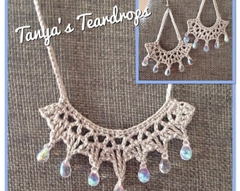 "Earrings & Necklace ""Tanya's Tears"" PATTERN- Instant download - Crochet PATTERN (pdf file)"