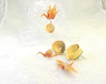 Set gioielli da sposa collana arancio e orecchini lunghi con fiore origami - matrimonio stile giapponese nella natura - parure regalo donna