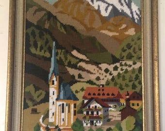 Vintage Hand-stitched Village Picture in Frame