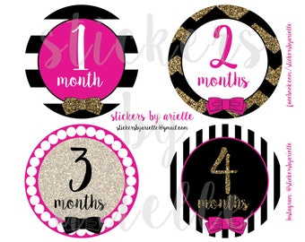 Month by Month Faux Glitter Baby Stickers