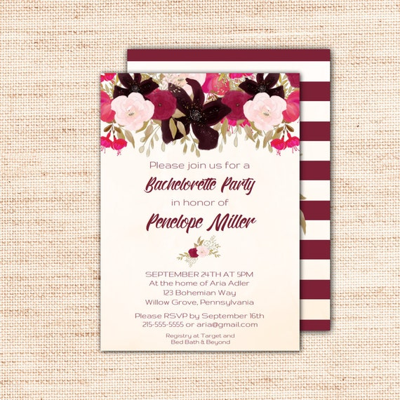 Boho Bachelorette Party Invitation Template Printable Instant - Party invitation template: bachelorette party invitations templates