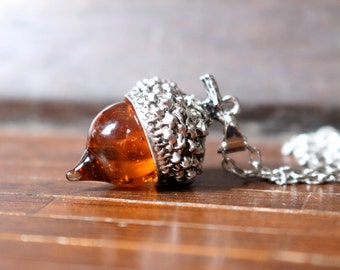 Glass Acorn Pendent Necklace