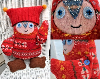 Cady - wool handmade stuffed toy from recycled sweater