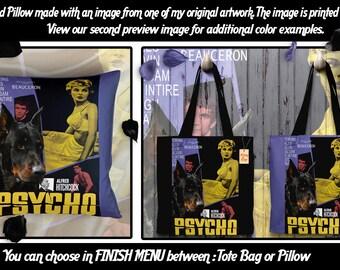 Beauceron Pillow/Beauceron Tote Bag/Beauceron Portrait/Beauceron Art/Dog Tote Bag/Dog Pillow/Custom Dog Portrait/Psycho Movie Poster