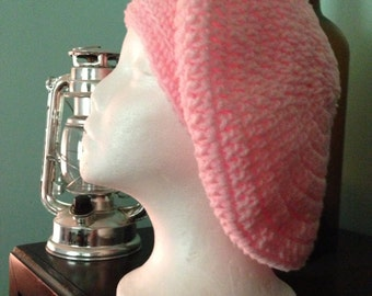Hat, beret, cloche, pink, crochet, women, girls