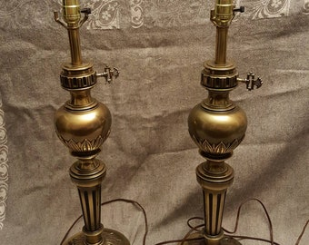 """matching pair of vintage Mid-Century STIFFEL table lamps - Hollywood Regency 25"""" tall brass"""