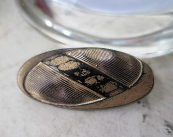"""Large Vintage GLASS Button *Elongated OVAL with Immitation Fabric Look* 1-3/8"""" long"""