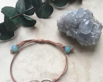 Sterling Silver Interlocking Circle Bracelet, Friendship Bracelet, Minimalist Jewelry, Cord Bracelet