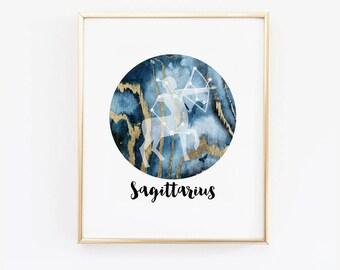 Sagittarius Zodiac Wall Art, Horoscope, marble wall art, Astrology Poster, Zodiac Astronomy Print, Sagittarius Constellation