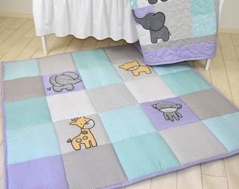 Baby Play Mat, Personalized Playmat, Jungle Baby Mat , Neutral Baby Activity Mat, Safari Baby Playmat, Playroom Decor, Purple Gray and Teal