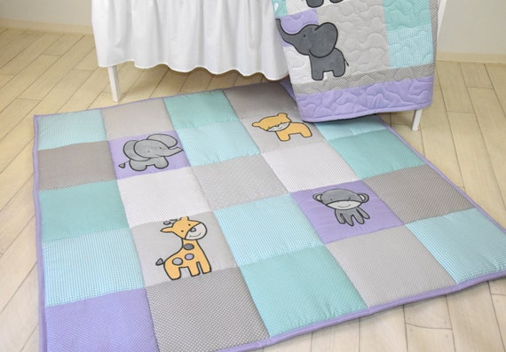 Baby Play Mat, Personalized Playmat, Jungle Baby Mat , Neutral Baby Activity Mat, Safari Baby Playmat, Playroom Decor, Purple Gray and Teal