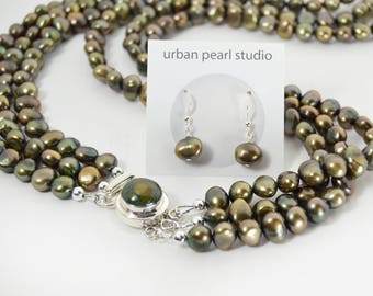Multi Strand Pearl Necklace Long Multistrand Necklace Earth Tone Golden Bronze Green Verde Natural Turquoise Clasp