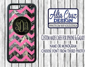 Personalized Chevron Camouflage cell phone case, iPhone or Galaxy, name or monogram #122