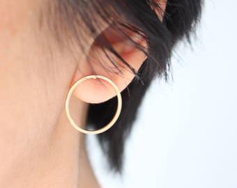 Gold Circle Earrings, Gold Circle Stud Earrings, Circle earrings