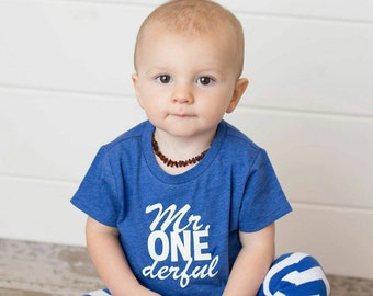 Mr ONEderful! - 1st Birthday shirt - cursive Front and Back design - Name on back - first birthday - one year old - Mr Wonderful - onederful