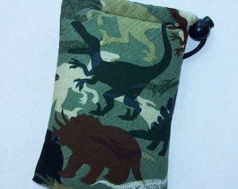 """Pipe Pouch, Dinosaurs Bag, Green Bag, Pipe Case, Glass Pipe Bag, Padded Pipe Pouch, Stoner Gifts, 420, Weed, Smoke Accessory - 5"""" DRAWSTRING"""