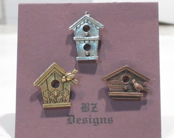 Birdhouse Pins - Bird House Trio Tac Pins - Antique Gold, Antique Silver, Antique Copper