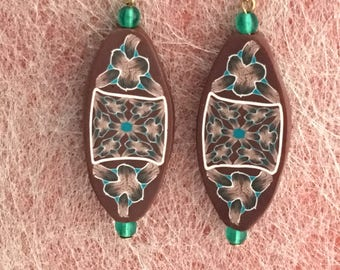 Earrings made from Polymer Clay, Surgical Steel Ear Wires, Shades of Brown, Green, Floral, Geometric, Canework