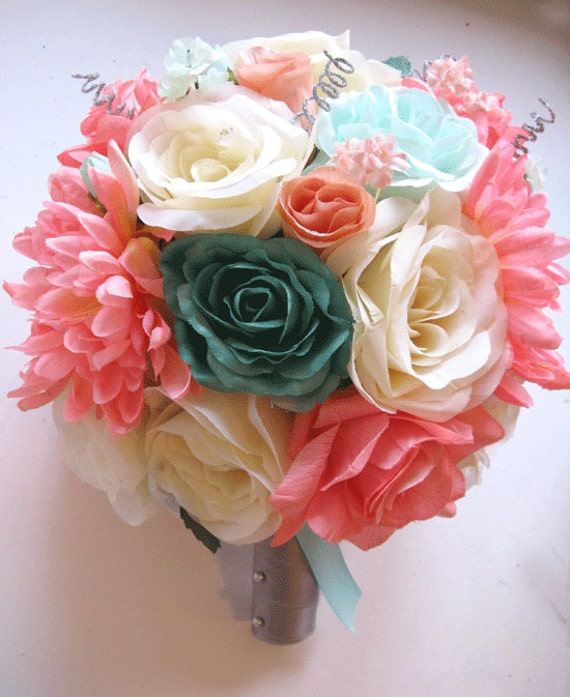 Wedding bouquet bridal silk flower coral teal mint green gray like this item mightylinksfo