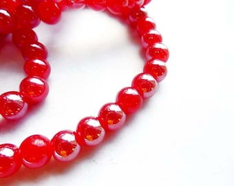 50 Red Glass Beads - 24-15