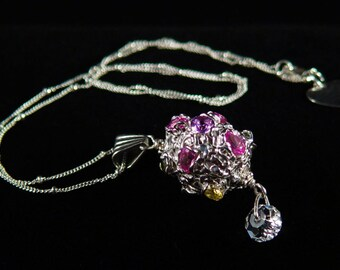 Fine Silver Decorated Egg Pendant with Colorful Gems, Briolette Swarovski Crystal and Freshwater Pearl B