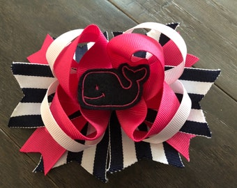 Pink and blue whale hair bow nautical simply southern inspired