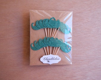 CLEARANCE. Peacock Glitter Moustache Cupcake Toppers.