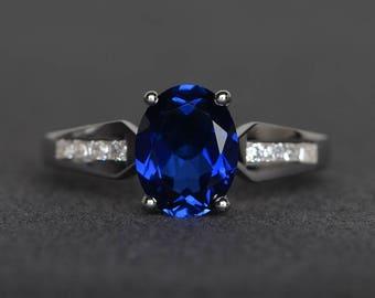 lab blue sapphire ring wedding ring oval cut gemstone sterling silver ring September birthstone ring