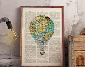 Map of France Balloon - Upcycled vintage image printed on a late 1800s Dictionary page Buy 3 get 1 FREE