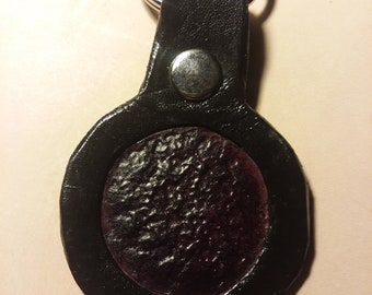 Leather Keychain Hand dyed, purple