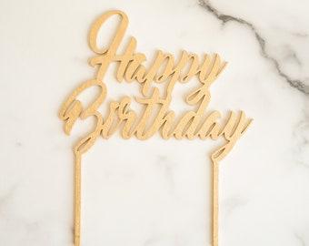 Metallic Happy Birthday Cake Topper