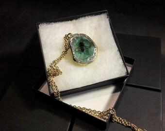 Honey Bee Geode Necklace Mint Green