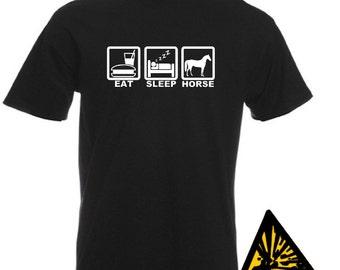 Eat Sleep Horse T-Shirt Joke Funny Tshirt Tee Shirt